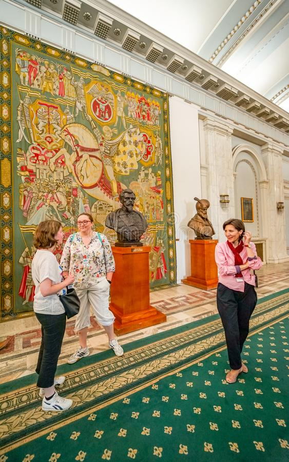 French tapestry inside Ceausescu Palace royalty free stock photos