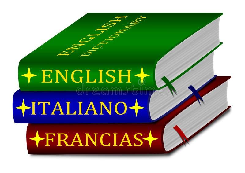 Dictionaries - English, Italian, French vector illustration