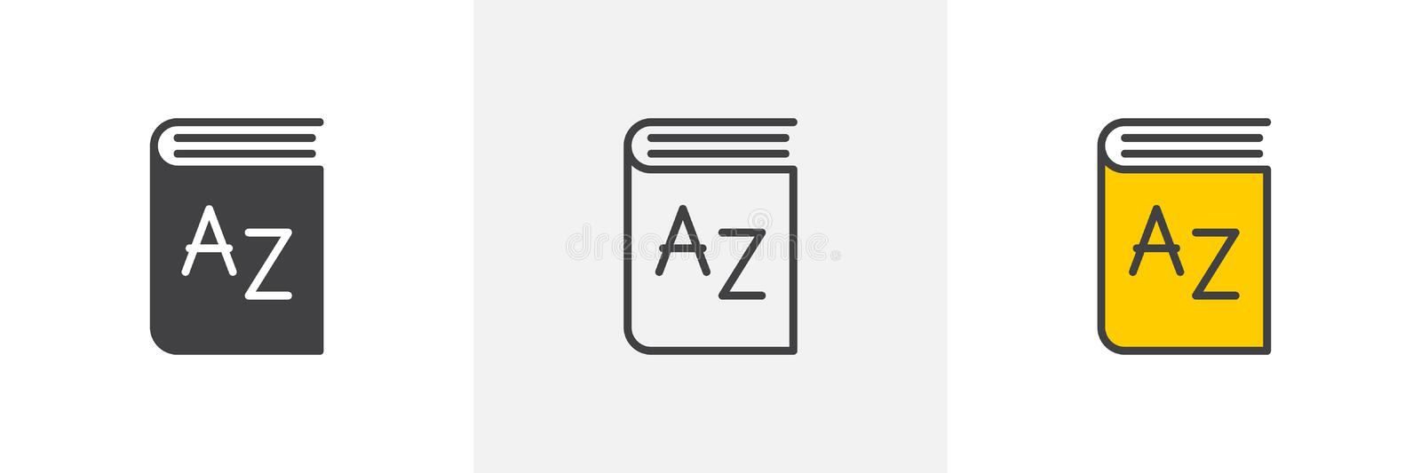 Dictionary book icon. Line, glyph and filled outline colorful version, alphabet book outline and filled vector sign. Symbol, logo illustration. Different style vector illustration