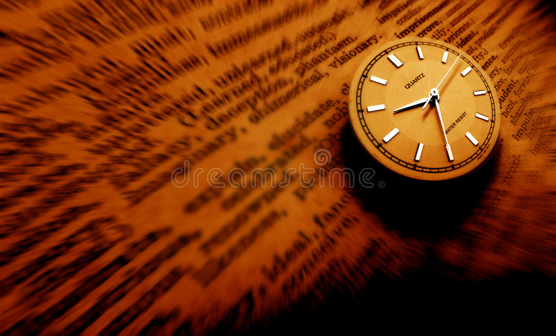 Dictionary with clock vector illustration