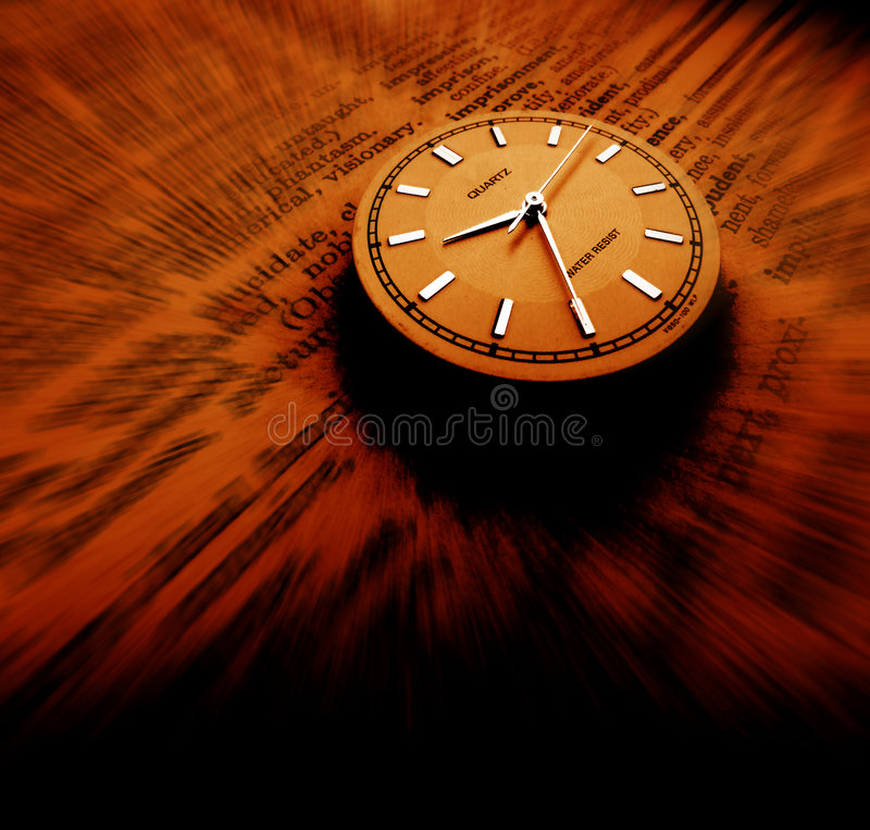 Dictionary with clock royalty free stock photos