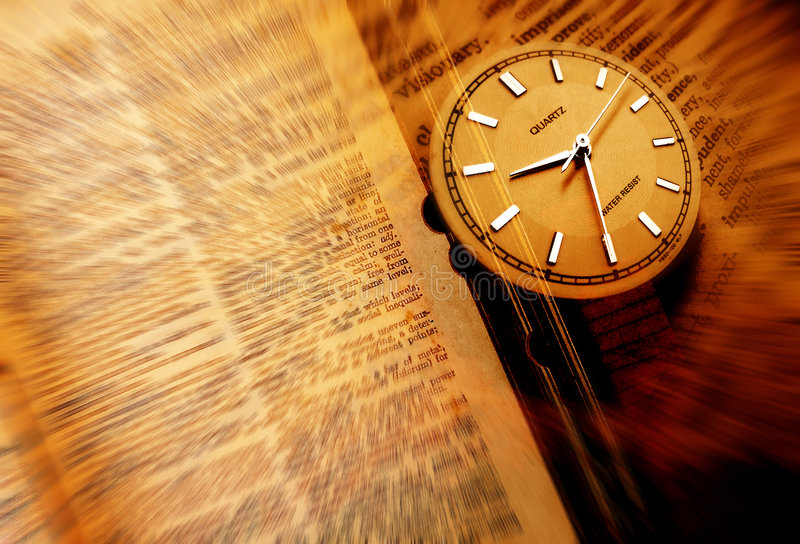 Dictionary with clock stock photo