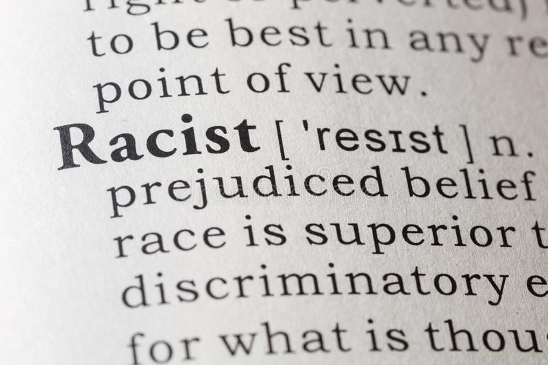 Dictionary definition of racist royalty free stock photo