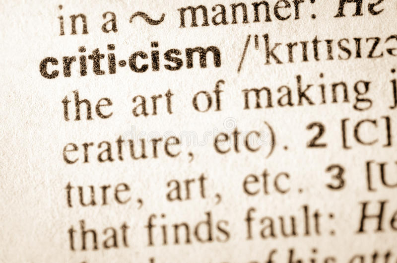Dictionary definition of word criticism. Definition of word criticism in dictionary stock image