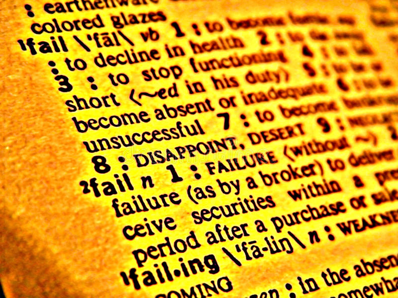 Dictionary fail. Photo shopped picture of the word 'Fail' in the dictionary stock photo