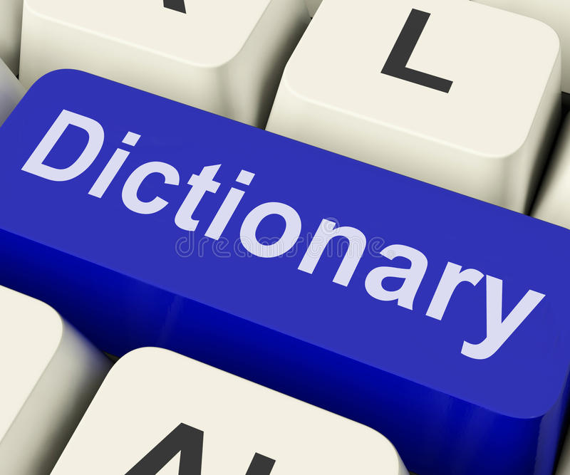 Dictionary Key Shows Online Or Web Definition Reference royalty free stock photos