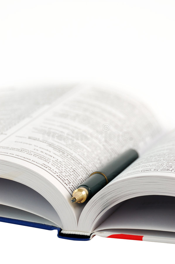 Download Dictionary with pen stock photo. Image of isolated, library - 7435968