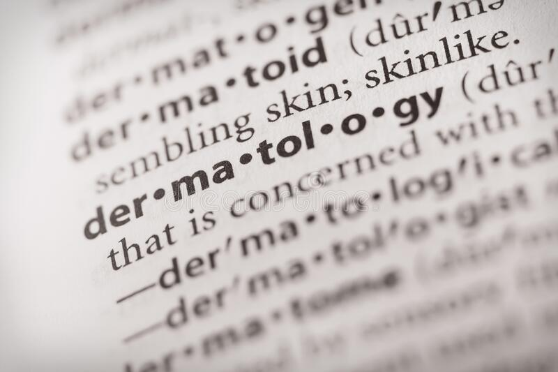 Dictionary Series - Word Dermatology stock foto's
