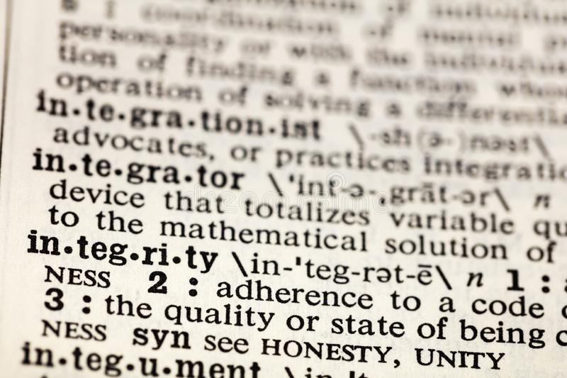 Dictionnaire de définition d'honnêteté d'éthique d'éthique d'intégrité images libres de droits