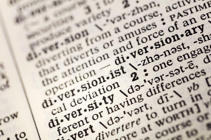 Dictionnaire divers de différence raciale de diversité images stock