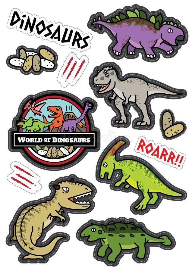 Dicut d'autocollant de conception de caractères de dinosaures illustration stock