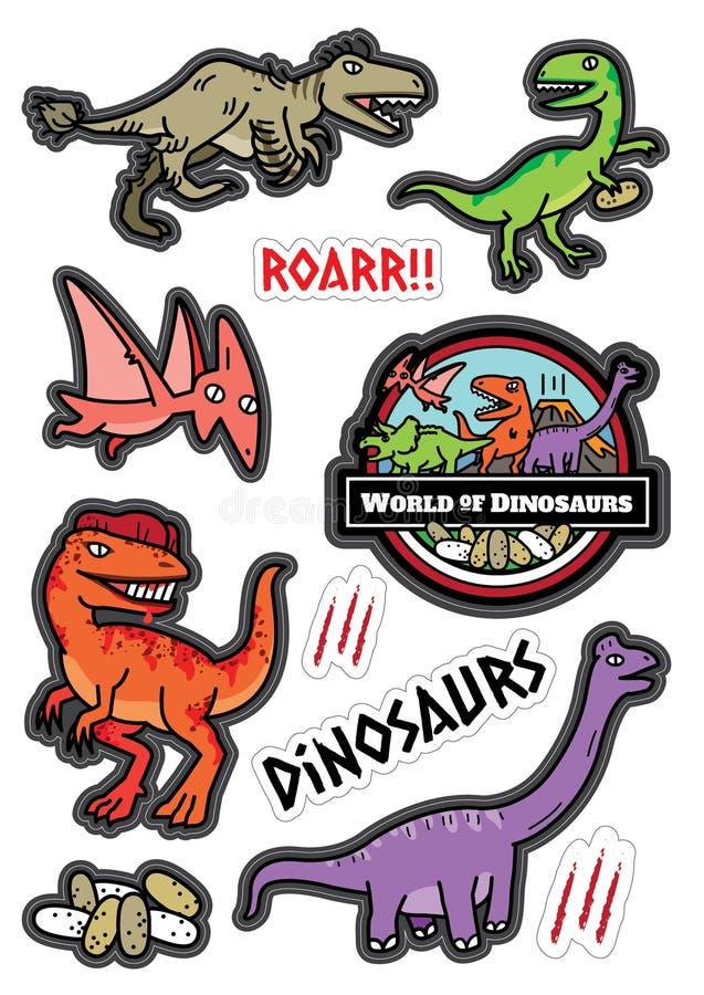 Dicut för klistermärke för dinosaurieteckendesign royaltyfri illustrationer