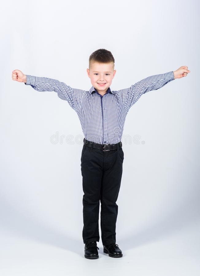 We did it. childhood. Business owner. confident child with business start up. Modern life. small boy with business look. Businessman. Office life stock image