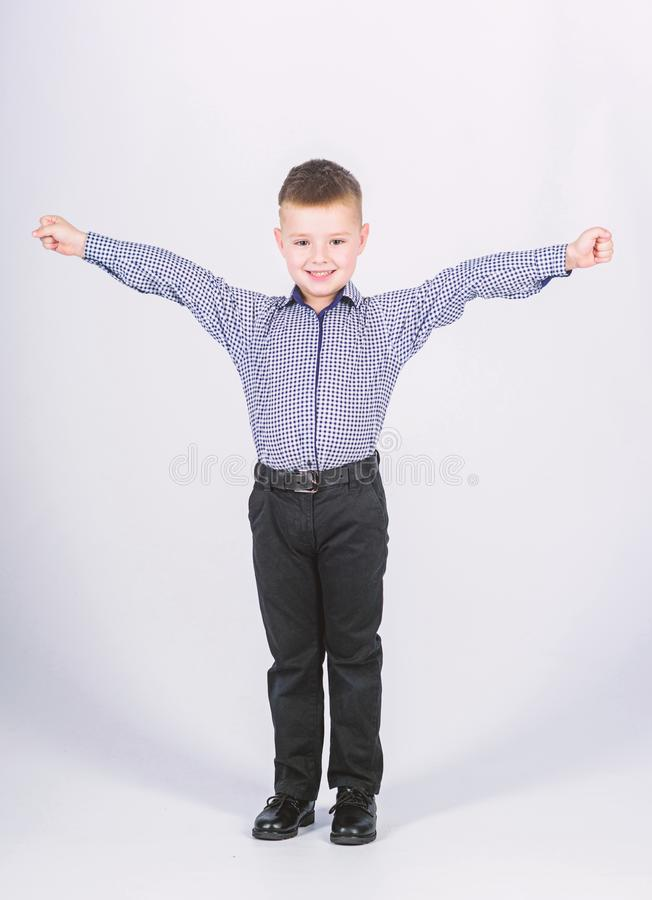We did it. childhood. Business owner. confident child with business start up. Modern life. small boy with business look. Businessman. Office life royalty free stock photography