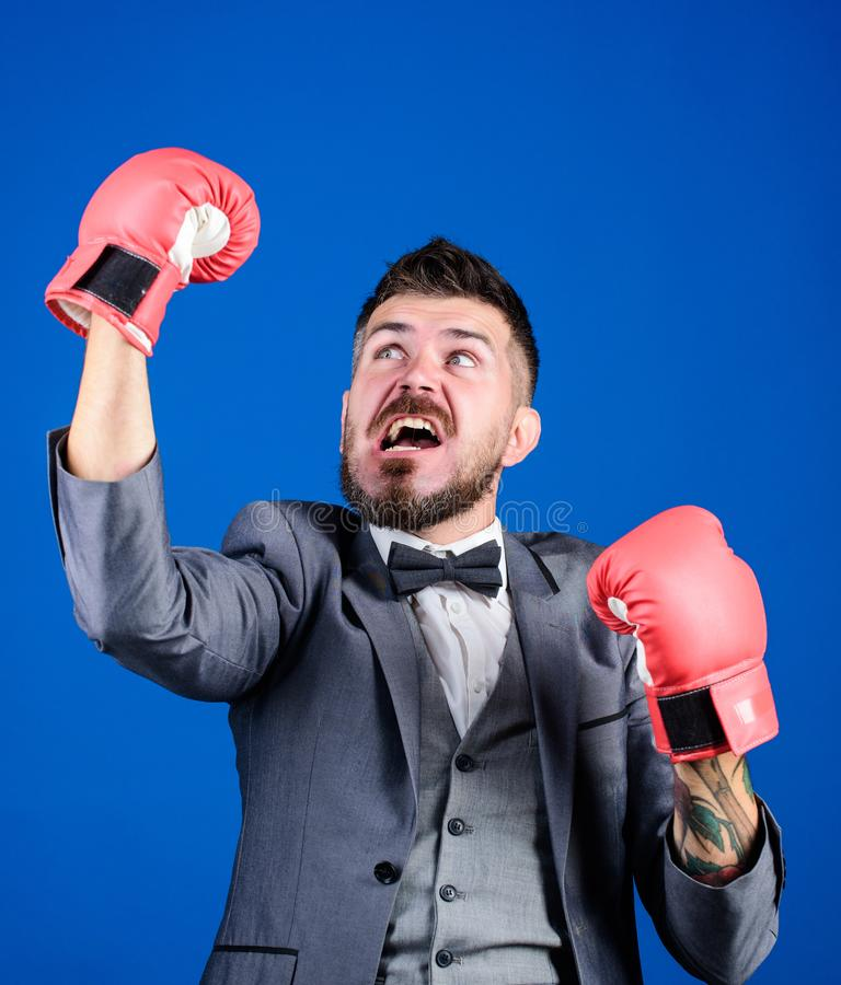 We did it. powerful man boxer ready for corporate battle. Business and sport success. bearded man in boxing gloves. Punching. businessman in formal suit and bow stock image