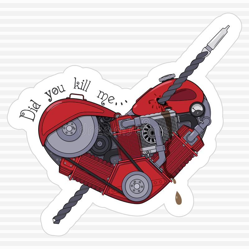 Did you kill me. Sticker for messenger. Motor heart pierced with a drill. Vector stock illustration