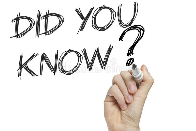 Did you know education concept. Hand writing did you know on a white board - education concept stock photo