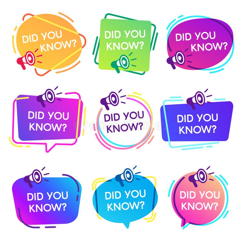 Did you know labels. Interesting facts speech bubbles, knowledge base label and social media faq banner isolated vector vector illustration