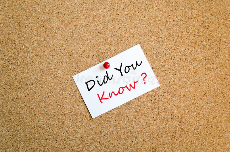 Did You Know Note Concept. Sticky Note On Cork Board Background Did You Know Concept stock image