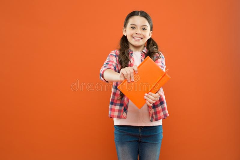 Did you know. Pupil with work book. Literature and writing lesson. Schoolgirl with notebook doing homework. Learning. Language. Studying is exciting. Girl cute stock photos