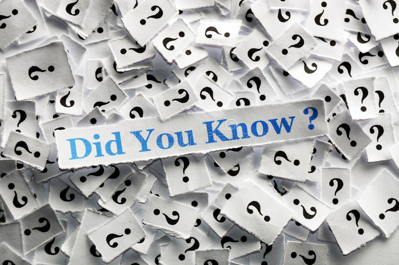 Did you know ?. Did you know question marks on white papers -hard light royalty free stock photos