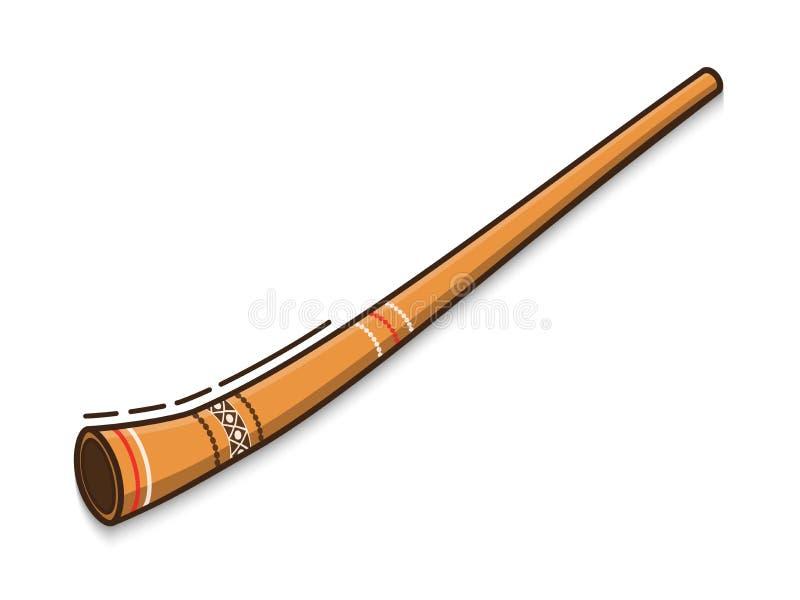 Didgeridoo is een traditioneel muzikaal instrument van Australische inboorlingen Vector vlak pictogram op witte achtergrond royalty-vrije stock fotografie
