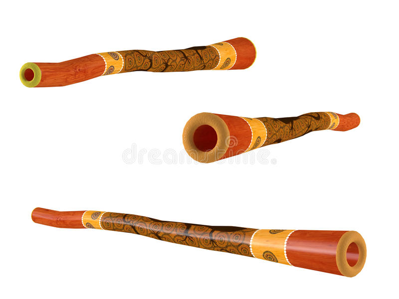 Didgeridoo a isolé. Angles de vue multiples illustration libre de droits