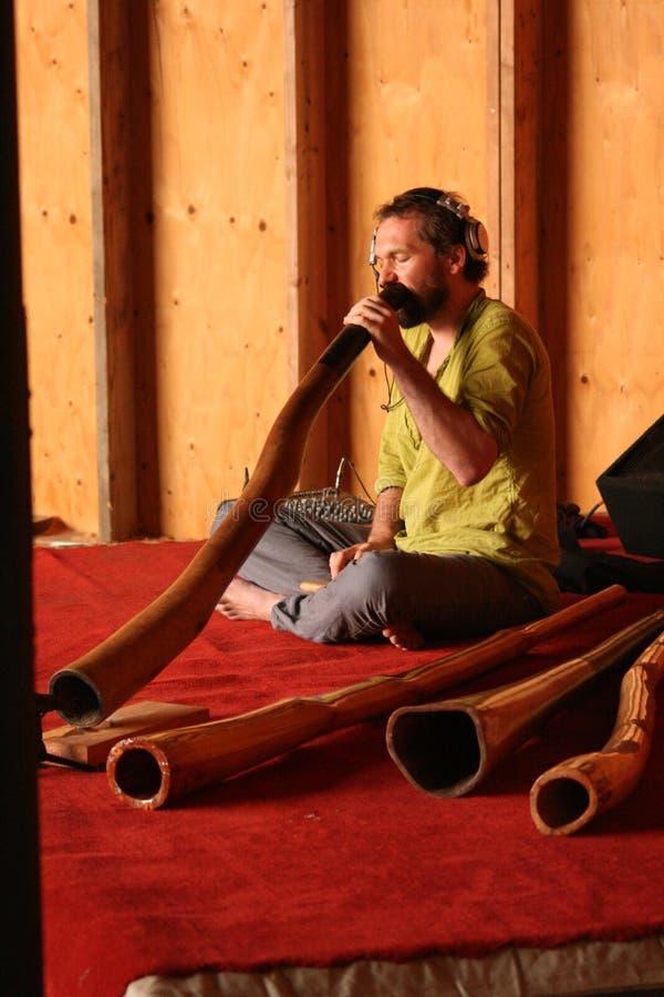 Didgeridoo player royalty free stock photo