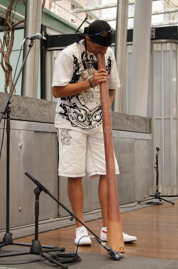 Didgeridoo Player Troy Allen stock images