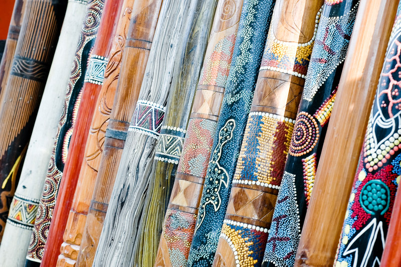 Didgeridoos op vertoning royalty-vrije stock foto's