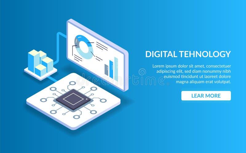 Didgital technologia Pojęcie przetwarzać dużych dane z pomocą nowożytnej technologii Komputeru lub serweru procesor royalty ilustracja