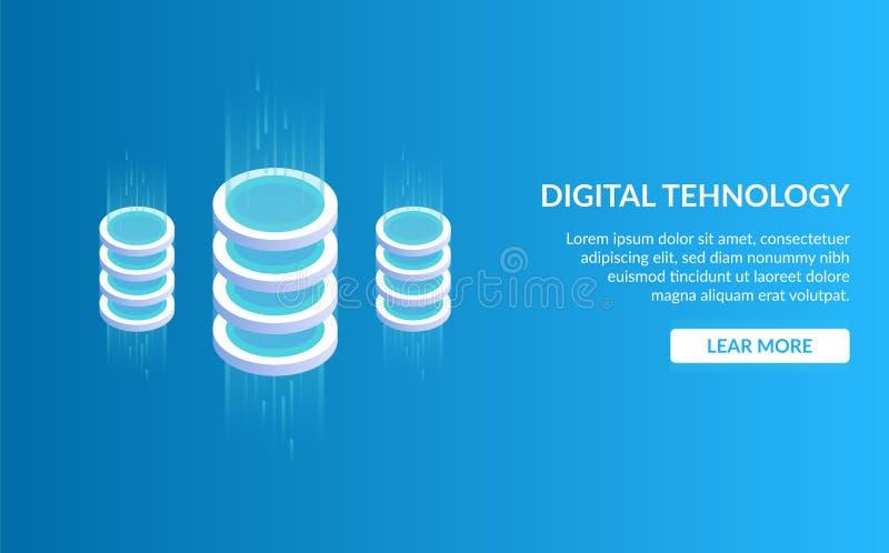 Didgital tehnology 大数据处理,未来能量驻地,服务器室机架,数据中心的概念 等量 向量例证