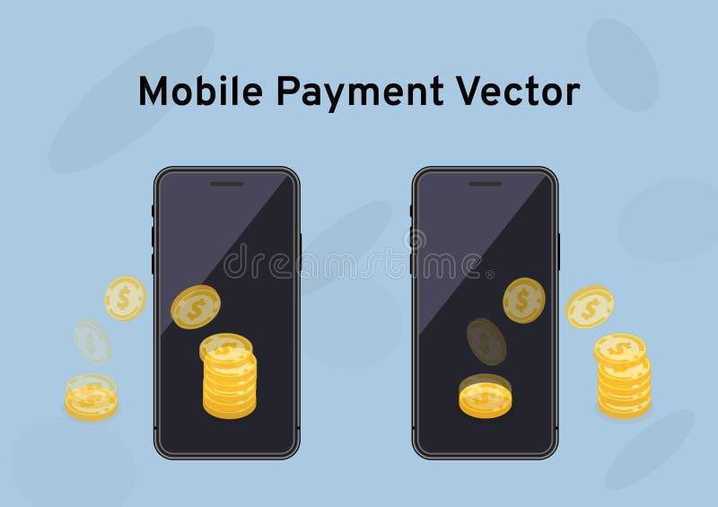 Die Übertragung von Goldmünzen auf dem Scheinu-Schirm, der Geldüberweisung oder den Geldtransaktionen über mobile Apps, intellige stock abbildung