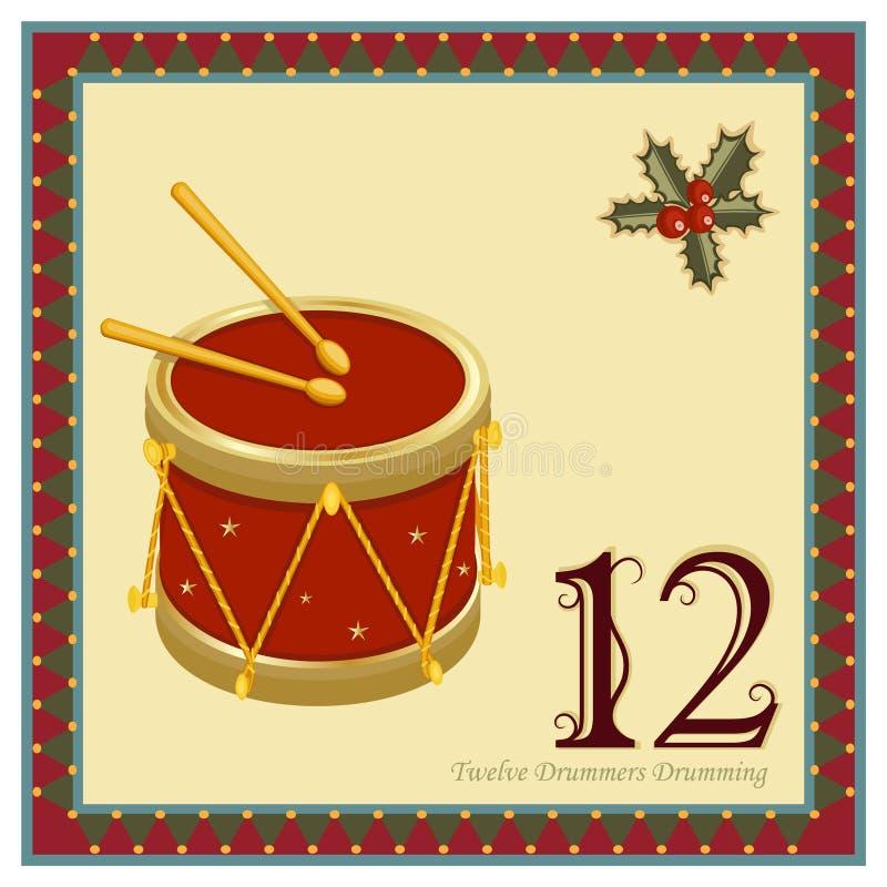 Die 12 Tage von Weihnachten stock abbildung