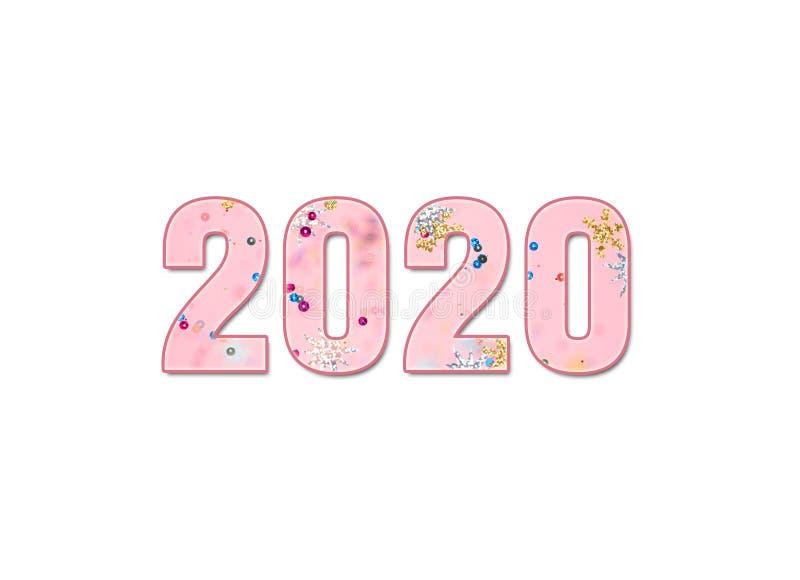 2020 die aantallen op een witte achtergrond worden geïsoleerd royalty-vrije stock foto
