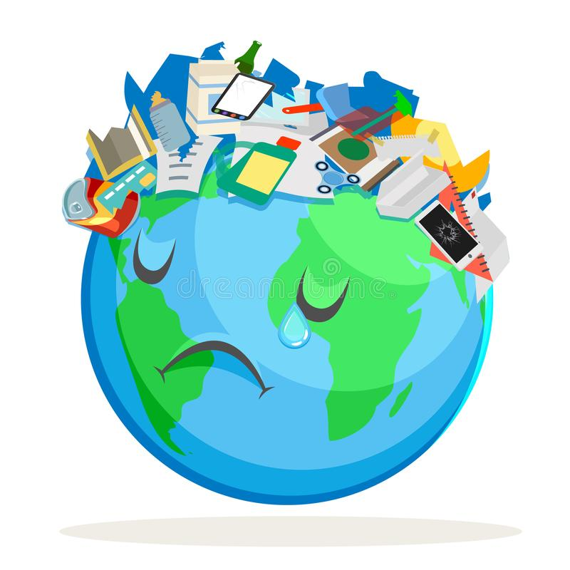 Die Abfall verunreinigte traurige Planetenerde erleidet Entwurfs-Vektorillustration der müden kranken Umweltverschmutzungskarika lizenzfreie abbildung