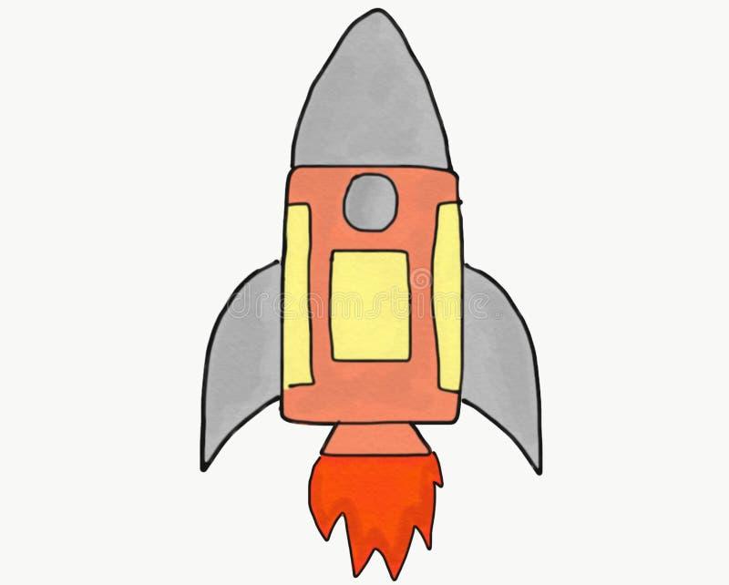 Die abstrakte lokalisierte Gekritzelrakete des Handabgehobenen betrages, Illustration für Kinderbuch, Karikaturaquarellart, begin lizenzfreie abbildung