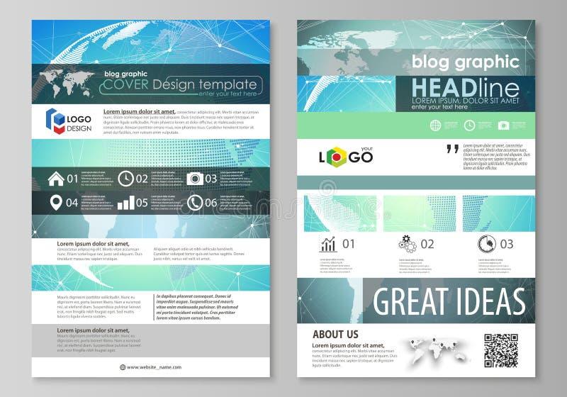 Die abstrakte minimalistic Vektorillustration des editable Plans Modelldesigns mit zwei des modernen Bloggraphikseiten lizenzfreie abbildung