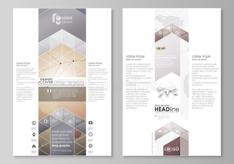 Die abstrakte minimalistic Vektorillustration des editable Plans Modelldesigns mit zwei des modernen Bloggraphikseiten stock abbildung