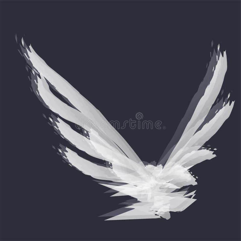 Die Abstraktion eines Fliegenvogels im Aquarell auf dunklem Hintergrund lizenzfreie stockfotografie