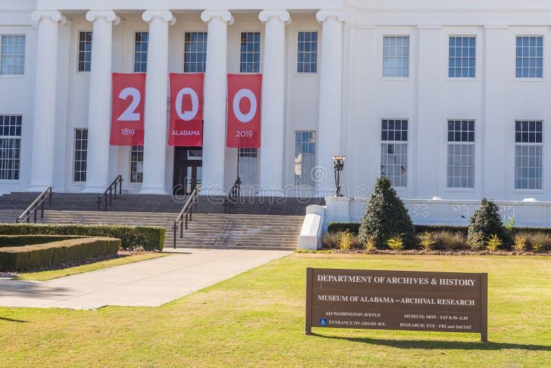 Die Alabama-Abteilung von Archiven und von Geschichte stockbilder