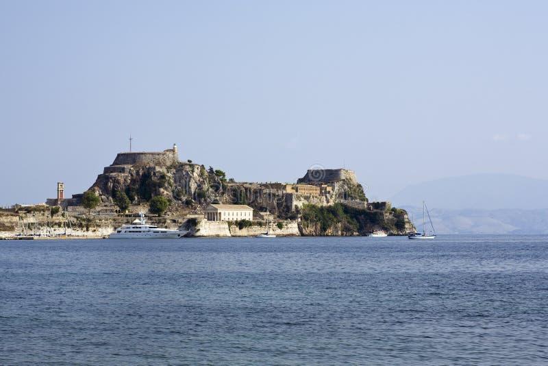 Die alte Festung an der Korfu-Stadt stockbild