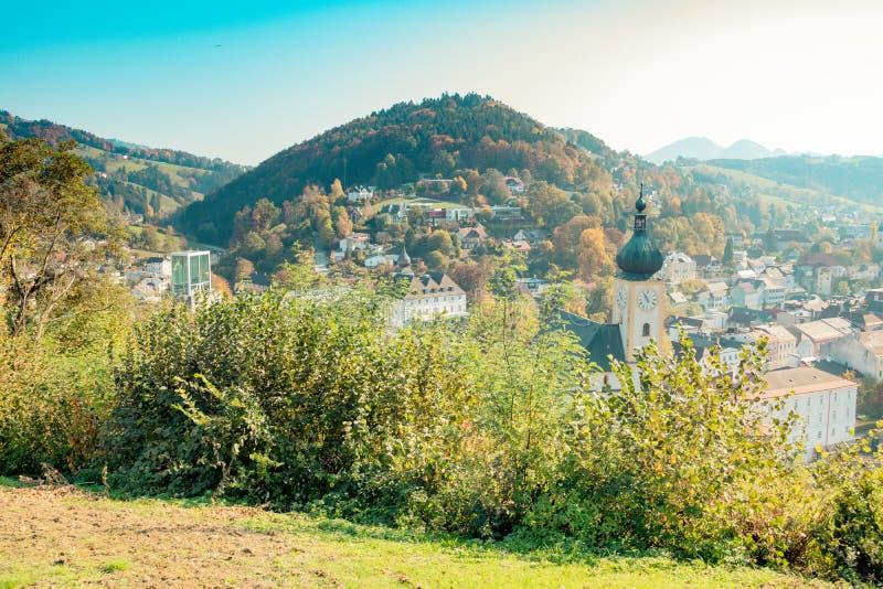 Die alte Stadt von Waidhofen ein der Ybbs im Herbst, Mostviertel, Niederösterreich, Österreich stockfoto