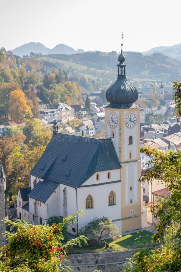 Die alte Stadt von Waidhofen ein der Ybbs im Herbst, Mostviertel, Niederösterreich, Österreich lizenzfreie stockfotografie