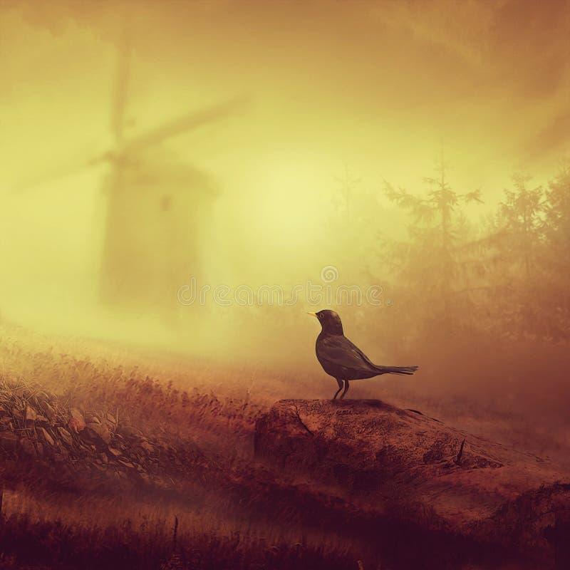 Die Amsel und die alte Windmühle vektor abbildung