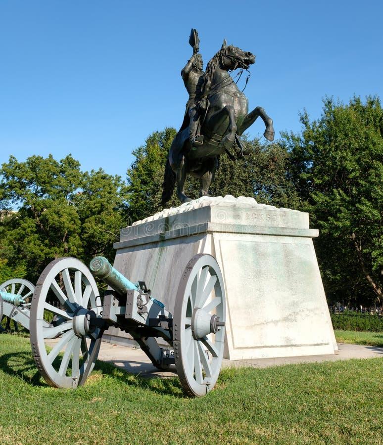 Die Andrew Jackson-Statue an Lafayette-Park in Washington D C lizenzfreie stockfotografie