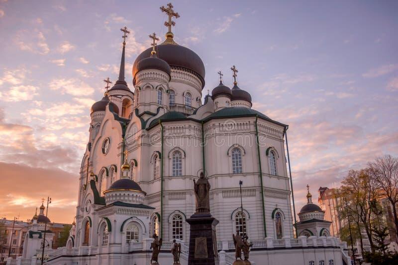Die Ankündigungs-Kathedrale in Voronezh bei Sonnenuntergang lizenzfreie stockbilder
