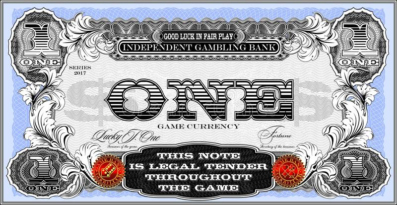 Die Anmerkung für das wirtschaftliche Spiel Ein Dollar vektor abbildung