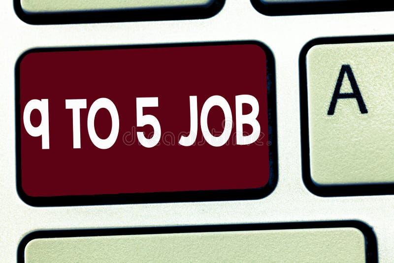 Die Anmerkung schreiben, die Job 9 bis 5 zeigt Geschäftsfoto Präsentationsarbeits-Zeitplan täglicher Routineklassiker traditionel lizenzfreie stockfotos