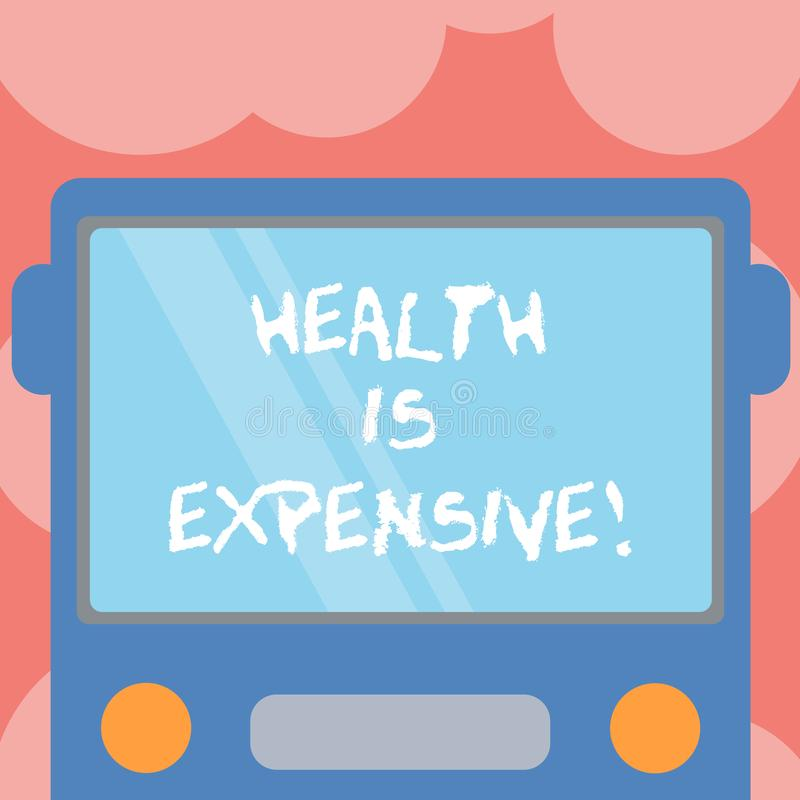 Die Anmerkung zu schreiben, die Gesundheit zeigt, ist teuer Die Geschäftsfotopräsentation mach's gut Körper essen gesunden Spiels stock abbildung